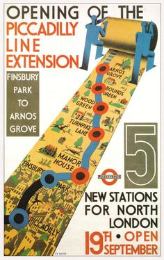 Poster advertising the opening of the Piccadilly Line extension in 1932.