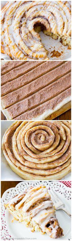 Learn how to make a Giant Cinnamon Roll Cake. Love this huge cinnamon roll!    followpics.co