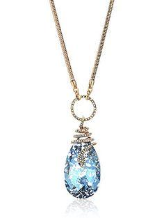 "Betsey Johnson ""Betsey Blues"" Snake Wrap Stone Long Pendant Necklace, 30"" + 3"" Extender ❤ Betsey Johnson Jewelry"
