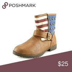 Rampage ankle boots Ankle boots.. size 6.5 nwt Tan flag upper material faux leather  outsole material..  Metal stars, stripes, buckles & zipper.. nwt Rampage Shoes Ankle Boots & Booties