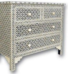 Surrealz Bone inlaid Chest of Drawers Cupboard Sideboard in Black Monochrome with lattice floral mesh pattern Also available in other mother of pearl inlay, colours and patterns