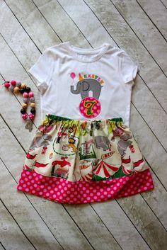 circus skirt toddler girl circus birthday by LightningBugsLane