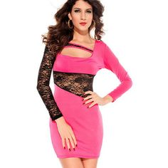 See through cut out lace mesh stretch bodycon dress pencil skirt