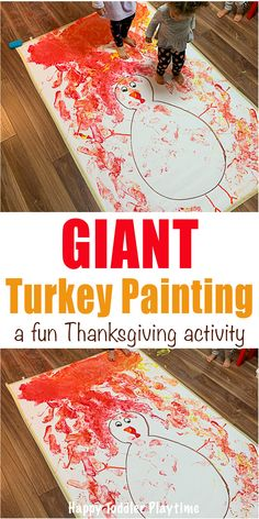 Giant Turkey Craft - HAPPY TODDLER PLAYTIME Giant Turkey Craft is a super fun art activity perfect for little and big kids this Thanksgiving! Paint giant turkey feathers with your feet! #thanksgivingcrafts #kidscrafts #toddlercrafts