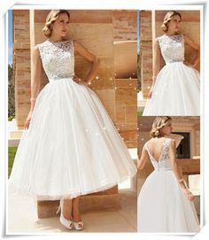V-NECK BACK WEDDING DRESSES, A-LINE BATEAU ANKLE-LENGTH TULLE WEDDING DRESSES MK044