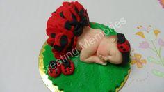 My LADYBUG Baby Fondant cake topper decorations made por anafeke