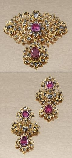 COLLECTION OF GEM-SET AND DIAMOND JEWELLERY, PORTUGUESE MID 18TH CENTURY AND LATER. Comprising: a demi-parure; the pendant of open work floral and foliate design, set with foil backed pear- and cushion-shaped pink topaz and rose-cut diamonds, together with a pair of pendent earrings en suite, original hinged fittings, mid 18th century