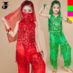 US $22.80 / piece  Kids Belly Dance Costumes Top&Pants&Face/Head Veil&Handwear Indian Dance Costumes For Children Vegas Showgirl Costumes