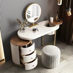 Small Dressing Table, Dressing Table With Chair, Dressing Table Design, Bedroom Bed Design, Bedroom Furniture Design, Bedroom Decor, Beauty Room Decor, Makeup Room Decor, Wall Wardrobe Design