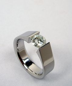 Tension set - titanium and moissanite
