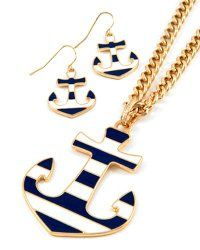 Goldtone Navy and White Anchor Necklace and Earring Set Fashion Jewelry | PammyJ Fashions