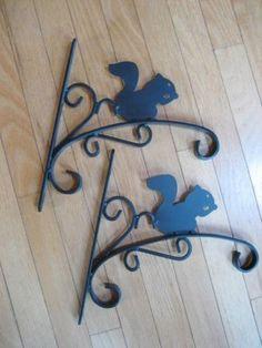 Pair-Squirrel-Plant-Holder-Hook-Wall-Mount-Hanger-Black-Metal-1-Long  Saw while browsing ebay