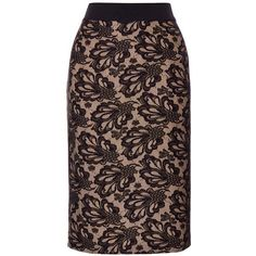 Coast Marbella lace skirt ($69) ❤ liked on Polyvore featuring skirts, clearance, fitted pencil skirt, coast skirts, brown lace skirt, knee length lace skirt and knee length pencil skirt