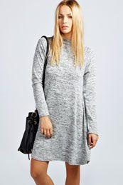 Monica Slub High Neck Knitted Swing Dress