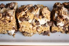Smore Bars-melt 4Tbutter in microwave, add 1 bag less 1cup mini marshmallows and microwave for 1 1/2 mins. Add 12oz Golden Grahams cereal, 12 oz chocolate chips and remaining marshmallows. Scoop into sprayed baking dish. Allow to cool before cutting.