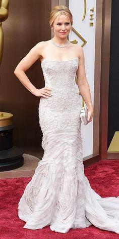 Academy Awards 2014: Kristen Bell in Roberto Cavalli and Piaget jewels.