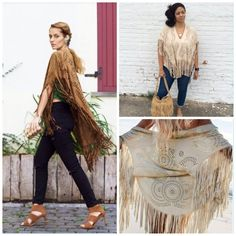 New Beautiful Fringe Kimono Laser Cut Coverup Just stunning people will not be able to stop talking about this piece. It is a must have get it today. Handbag is for sale as well save more when you bundle. Beach, pool, or just wear with jeans. Tops