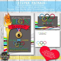 Olympic Birthday Party Invitation Set Personalized Printable by JuliesPartyParlor
