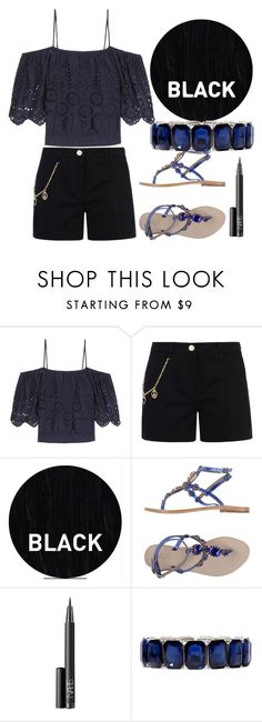 """""""Black summer"""" by erohina-d ❤ liked on Polyvore featuring Ganni, Love Moschino, Sleep In Rollers, Gei Gei, NARS Cosmetics and Monet"""