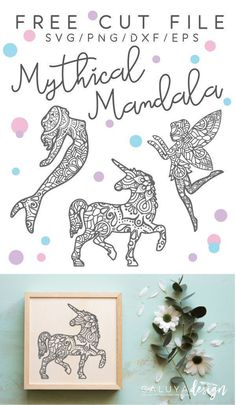 Download FREE Mythical creature Mandala SVG cut files, compatible with Cricut, Cameo Silhouette and other Major cutting Machines. Magical Unicorn Mandala, Unicorn Zentangle SVG cut file, fairy Mandala SVG cut file, Fairy Zentangle SVG cut file, Mermaid Mandala SVG cut file, Mandala Zentangle SVG cut file. Perfect for DIY projects with Cricut and Cameo Silhouette. Cameo Silhouette Craft Inspiration, Cricut Craft Inspiration. Free SVG File