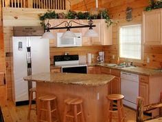 ... small rectangle kitchen island with wooden stools idea and beautiful low ceiling lights [ T M L ...