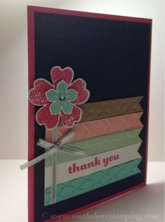 Thank You card using Petite Petals from the Stampin' Up! 2014 spring Occasions mini catalog and Flower Shop by Emily Mark SU demo Montreal. www.southshorestamping.com