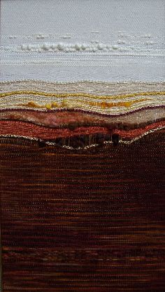 I like the chunky yarn for the clouds Landscape_Weavings - muy lindos tapices con paisajes