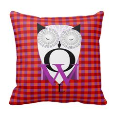 Bang on trend fashionable plaid home decor accessories with a cute word art style owl; in contrasting colors of red, orange and purple, very stylish for any room in your home. #purple #orange #plaid #plaids #red #cute-animals #autumn-colors #owl #cute-owls #birds #squares #cute-pictures #trendy #glasses #fashionable #check #stylish #bespectacled #plaid-home-decor-accessories #fun #on-trend #woodland-animals #tartan #plaid-fabric-print #owls #word-art #modern-decor #hoot #hoots #cute-birds