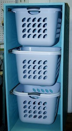 stackable laundry basket holder..Cool idea, can do this for recycling too!