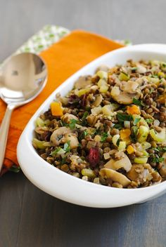 Lentil & Mushroom Dressing - A gluten-free stuffing/dressing that all your guests will enjoy! Includes two types of lentils, dried fruit and herbs. #SundaySupper   foxeslovelemons.com