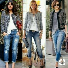 Womens fashion over 40 dresses boyfriend jeans 54 Ideas Outfit Jeans, Blazer Outfits, Jean Outfits, Casual Outfits, Summer Outfits, Tweed Blazer Outfit, Boyfriend Jeans Outfit Summer, Jeans Outfit For Work, Dress Up Jeans