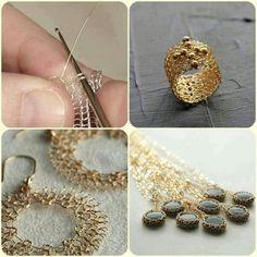 Diy Jewelry : Gorgeous Wire Crocheted jewelry -Read More – Wire Wrapped Jewelry, Metal Jewelry, Beaded Jewelry, Handmade Jewelry, Jewelry Bracelets, Chain Necklaces, Knit Bracelet, Wire Crochet, Crochet Wire Jewelry