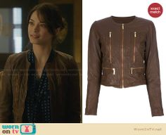 Cat's brown leather jacket on Beauty and the Beast. Outfit Details: http://wornontv.net/28338 #BATB #fashion