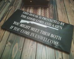 Primitive Distressed Farmhouse House protected Sign 12x24 Pine. $36.00, via Etsy.