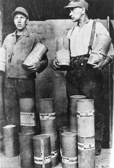 Staged Photo of SS Camp Guards with Zyklon B Canisters after the Liberation, Majdanek, Poland  The Holocaust - Yad Vashem