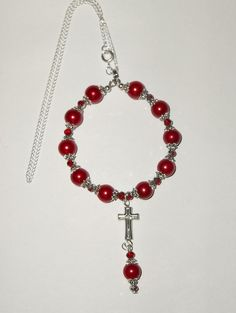 Red Pearl Bead Silver Plated Car/Pocket Rosary