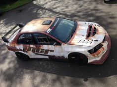 Risultati immagini per vehicle wrap rust Rc Drift Cars, Eco Friendly Cars, Rusty Cars, Mitsubishi Lancer Evolution, Lifted Ford Trucks, Car Painting, Japanese Cars, Car Wrap, Cars And Motorcycles