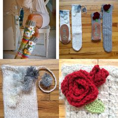 I know you all have seen these awesome slipper socks all over FB and Pinterest.  Here's a nice alternative...buy some ready made and add your own embellishments.  I found these $50 ones, by Lemon, on sale at Marshall's for $10.  I crocheted some roses and leaves for the gray pair and I used a Daisy Loom and some lace yarn for the cream pair.  I love them!