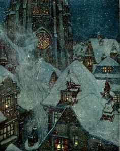 """Iopanosiris: Edmund Dulac, The Snow Queen Flies Through the Winters Night.Illustration for """"The Snow Queen: in Seven Stories,"""" Stories from Hans Christian Andersen, Illustration Nocturne, Night Illustration, Botanical Illustration, Reine Art, Melencolia I, Edmund Dulac, Queen Art, Japanese Calligraphy, Calligraphy Art"""