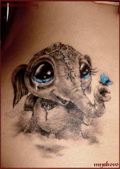 elephant & butterfly tat