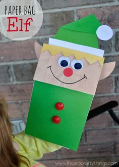 Paper Bag Elf Craft for Kids | Use a paper bag to make this adorable elf craft. Fun Christmas Craft for kids and doubles as a cute puppet for pretend play. | From iheartcraftythings.com