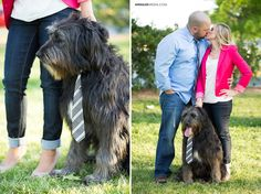 © Anna Lee Media | Oklahoma Engagement Photographer, couple pose, with dogs/pets, dog wearing tie