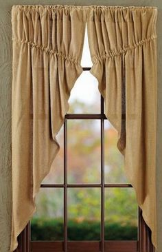 Prairie Curtain- Burlap Natural- Victorian Heart- 63x36x18 (Set of 2) - Ben Franklin Online