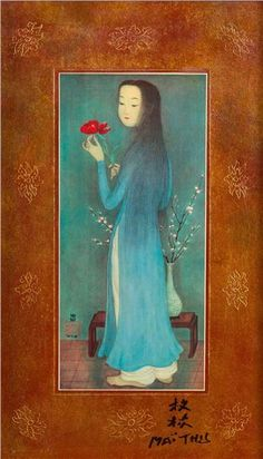 Artwork by Mai Thu, Young lady with the flower., Made of Four-colour and gold printing on framed cardboard
