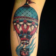 Hot air balloon old school tattoo
