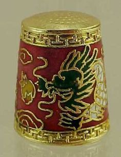 Cloisonne Dragon Sewing Thimble Chinese Red