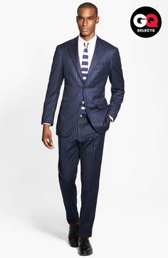 Free shipping and returns on Canali Chalk Stripe Suit at Nordstrom.com. Sharp lines and a sharper silhouette shape an effortlessly classic two-button suit outfitted with flat-front trousers to complete the look. The combination of broader lapels and a cinched-in waist will create a masculine outline to match the timeless panache of the wool-and-cashmere blend cast in bold chalk stripes.