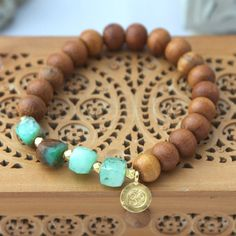 Sandalwood and Green Chrysoprase Stretch by LaliJewelryShop, $39.00