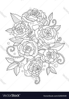 Roses coloring book for adults Vector Image by apokusay