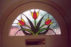 Tulip design window for a front door